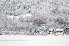 Winter View of a Chalet Motel Near the Lake of Abant Stock Images