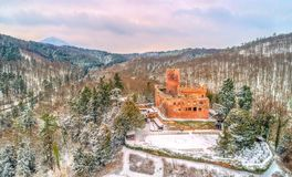 Winter view of the Chateau de Kintzheim, a castle in the Vosges Mountains - Bas-Rhin, France. Winter view of the Chateau de Kintzheim, a castle in the Vosges Stock Images