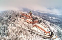 Winter view of the Chateau du Haut-Koenigsbourg in the Vosges mountains. Alsace, France. Winter view of the Chateau du Haut-Koenigsbourg in the Vosges mountains royalty free stock images