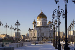 Winter view on Christ the Savior Cathedral Moscow Stock Images