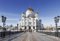 Winter view on Christ the Savior Cathedral Stock Photos