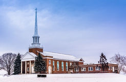 Winter view of a church in rural York County, Pennsylvania. Stock Image