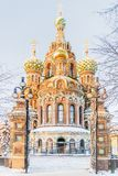 Winter view of the Church of the Savior on Blood in St. Petersburg.  Royalty Free Stock Photography