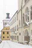 A winter view from Ciril & Methods' street towards Lotrscak towe. Rin Zagreb, Croatia Stock Photos