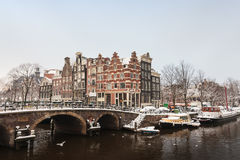 Winter view of the city center in Amsterdam Stock Image