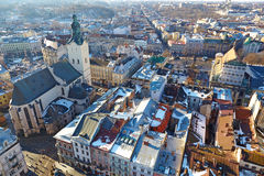 Winter view of the city center and Latin Cathedral Stock Image