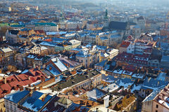 Winter view of the city center with the Town Hall Royalty Free Stock Photo