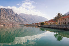 Winter view of the coast of Kotor Bay. Montenegro Royalty Free Stock Photo