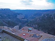 The beautiful medieval village of Sorano in Tuscany,  Italy. A winter view of the countryside from the ancient medieval city of Sorano in Tuscany, Italy Stock Image