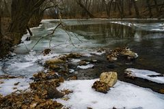 Winter view Craig Creek. A winter view of Craig Creek where it joints the James River located in Botetourt County, Virginia, USA Royalty Free Stock Photography