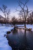 Winter view of a creek in rural York County, Pennsylvania. Royalty Free Stock Photo