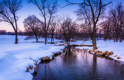 Winter view of a creek in rural York County, Pennsylvania. Royalty Free Stock Image