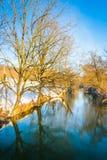 Winter view of a creek in rural York County, Pennsylvania. Stock Photos