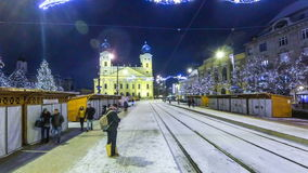 Winter view of Debrecen old town, Hungary stock footage
