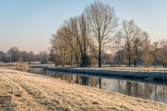 Dutch landscape in wintertime Royalty Free Stock Photography