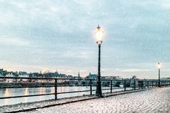 Winter view of the east side of the Dutch river Maas in Maastricht stock photo
