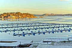Winter view of an empty dock for boats Stock Images