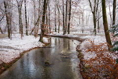 Winter view of English Garden in Munich, Germany Royalty Free Stock Images