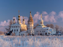 Winter view of the ensemble of ancient orthodox churches in Dymkovo Sloboda, Veliky Ustyug, Vologodsky region, Russia Stock Photos