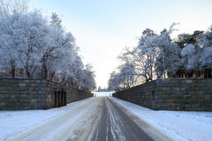 Winter view of entrance to Woodland Cemetery Royalty Free Stock Photography