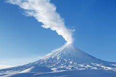 Winter view on eruption Klyuchevskaya Sopka - active volcano of Kamchatka Royalty Free Stock Photos
