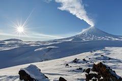 Winter view on eruption Klyuchevskoy Volcano - active volcano Royalty Free Stock Image