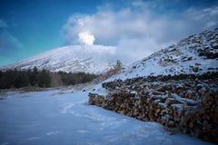 Winter view Etna Volcano emit white smoke,. Sicily stock photography