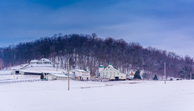 Winter view of a farm and hill in rural Adams County, Pennsylvan. Ia Royalty Free Stock Image