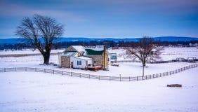 Winter view of a farm in rural Adams County, Pennsylvania. Stock Photo