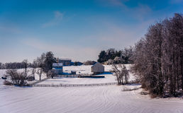 Winter view of a farm in rural Carroll County, Maryland. Royalty Free Stock Photography