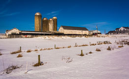 Winter view of a farm in rural Lancaster County, Pennsylvania. Winter view of a farm in rural Lancaster County, Pennsylvania Royalty Free Stock Photo