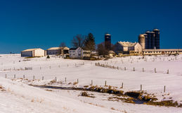 Winter view of a farm in rural Lancaster County, Pennsylvania. Stock Image