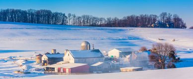 Winter view of a farm in rural York County, Pennsylvania. Royalty Free Stock Image