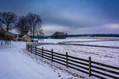 Winter view of a farm in rural York County, Pennsylvania. Stock Photography
