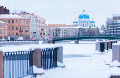 Winter view of the Fontanka River Stock Photos