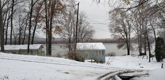 Winter view from the front porch stock images