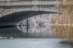 Winter view of a frozen river under a bridge Royalty Free Stock Photography