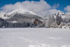 Winter view of frozen snow covered  surface of Strbske Pleso Stock Photo