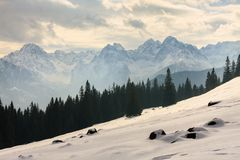 Winter view of frozen surface of High Tatra Royalty Free Stock Photos