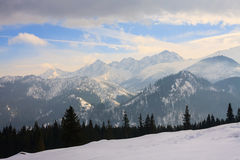 Winter view of frozen surface of High Tatra Royalty Free Stock Images