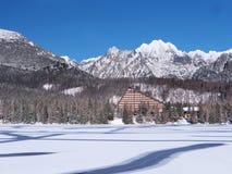 Frozen surface of Strbske Pleso (Tarn) royalty free stock photo