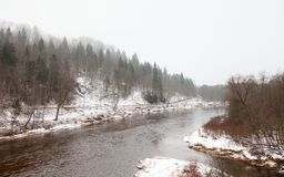 A Winter View of the Gauja River near Sigulda, Latvia. Sigulda is a part of the Gauja National Park Royalty Free Stock Photo