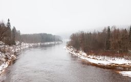 A Winter View of the Gauja River near Sigulda, Latvia. Sigulda is a part of the Gauja National Park Stock Photography