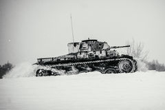 Winter view of the german WWII tank panzer Pz. II in attack. Stock Photography