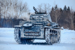 Winter view of the german WWII tank panzer Pz. II. Royalty Free Stock Photography