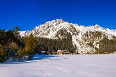 Winter view of glacial lake in High Tatras, Slovakia Stock Image