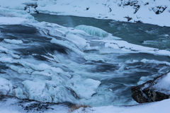 Winter view of the Gullfoss falls, Iceland Stock Images