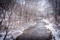 Winter view of Gunpowder Falls in rural Baltimore County, Maryla Stock Photography