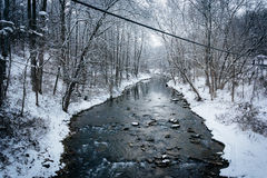 Winter view of Gunpowder Falls in rural Baltimore County, Maryla Royalty Free Stock Photos
