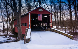 Winter view of the Heikes Covered Bridge in rural Adams County, Royalty Free Stock Photo